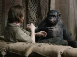 """Koba (Toby Kebbell) has a light-hearted moment with some humans. Let's just say it doesn't end well for the humans in this scene. """"We all know it doesn't become 'Planet of the Humans and Apes,' it becomes 'Planet of the Apes' """" says director Matt Reeves. """"But this is that one moment where there is hope for the humans."""""""